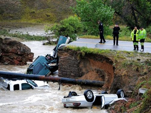 cars ruined in Colorado floods
